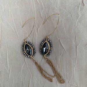Jewelry - Gold threader earrings w/ dark gray stones